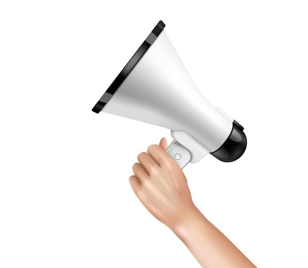 Conceito de alto-falante e megafone na mão com ilustração realista de símbolos de atenção
