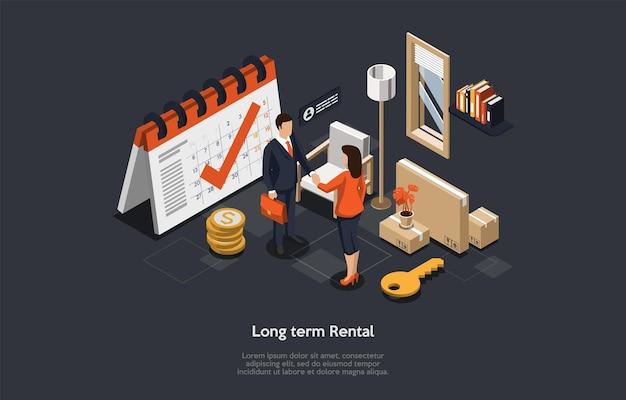 Conceito de aluguel de bens imóveis de longo prazo, contrato de assinatura.
