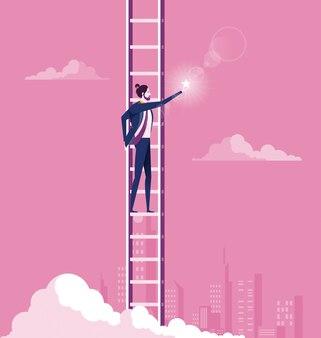 Conceito de alvo de negócios. escada de escalada, atingindo a estrela