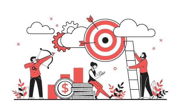 Conceito de alvo de negócios. personagens de desenhos animados, planejando e atingindo objetivos, conceito de equipe de negócios bem-sucedidos. alvo de negócios plano de ilustração vetorial e desempenho de motivação