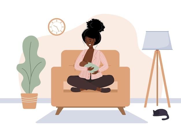Conceito de amamentação. mãe africana amamentando bebê recém-nascido.