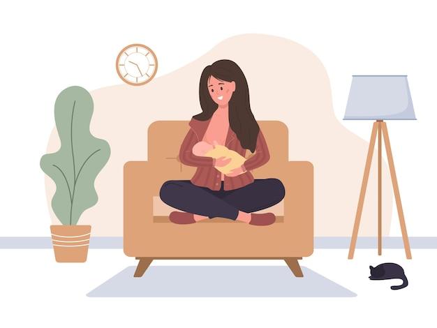 Conceito de amamentação. mãe amamentando bebê recém-nascido.