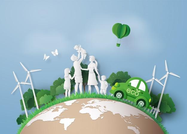 Conceito de ambientalmente amigável com carro ecológico
