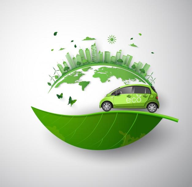 Conceito de ambientalmente amigável com carro ecológico.
