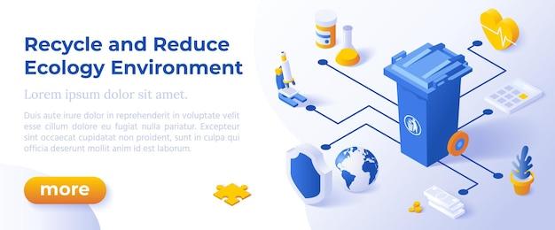 Conceito de ambiente de ecologia - design isométrico em cores da moda ícones isométricos sobre fundo azul. modelo de layout de banner para desenvolvimento de site