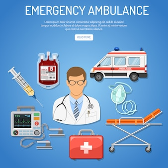 Conceito de ambulância de emergência médica