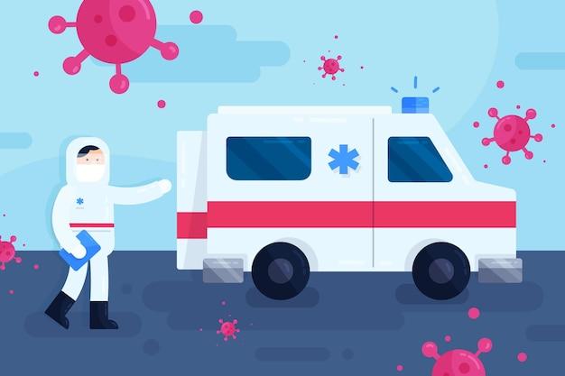 Conceito de ambulância de emergência