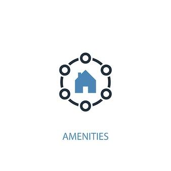 Conceito de amenidades 2 ícone colorido. ilustração do elemento azul simples. design de símbolo de conceito de comodidades. pode ser usado para ui / ux da web e móvel