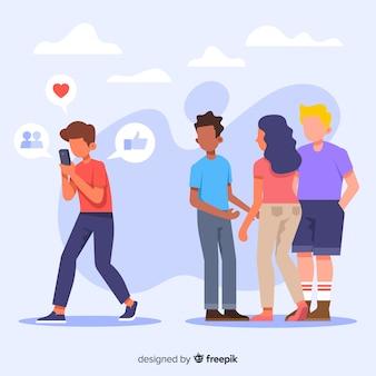 Conceito de amizade matança de mídia social