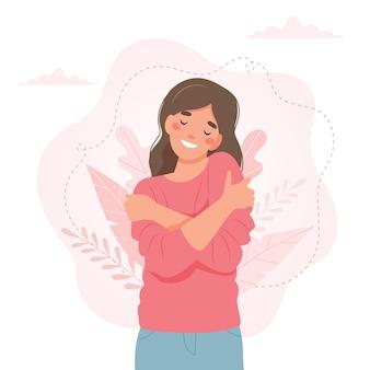 Conceito de amor a si mesmo, mulher se abraçando, ilustração vetorial em estilo simples