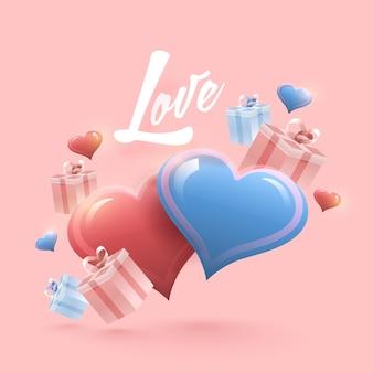 Conceito de amor com caixas de presente e corações brilhantes, decorados em fundo rosa pastel.