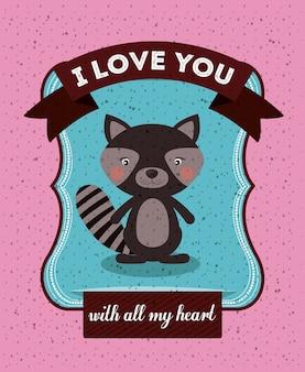 Conceito de amor com design animal bonito