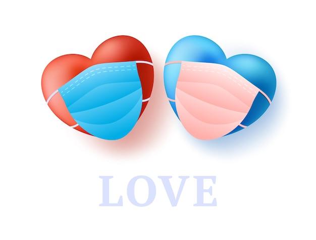 Conceito de amor com dois pares bonito coração vermelho e azul realista na máscara médica.