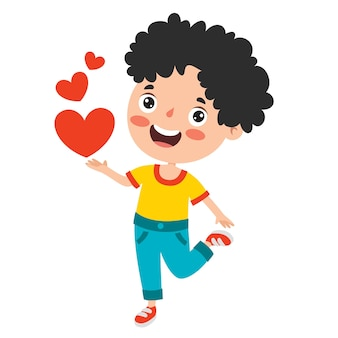 Conceito de amor com personagem de desenho animado