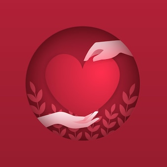 Conceito de amor. duas mãos criativas com o coração vermelho sobre fundo vermelho, estilo de corte de papel.