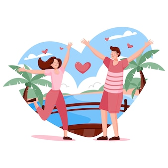 Conceito de amor em ilustração de design plano
