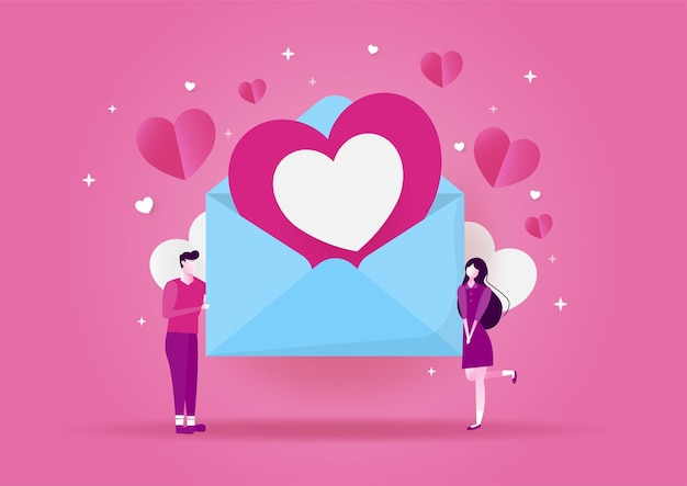 Conceito de amor, fundo rosa de dia dos namorados. corações e nuvens cortadas em papel para um design romântico para o dia dos namorados