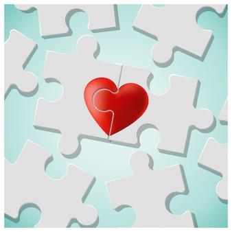 Conceito de amor verdadeiro com peças de quebra-cabeça de coração vermelho se unem