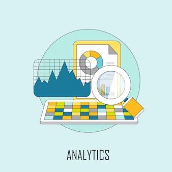 Conceito de análise: dados e lupa em estilo de linha