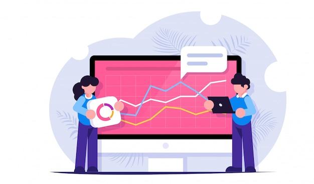 Conceito de análise de dados. big data. as pessoas constroem um painel e interagem com gráficos. homem e mulher analisam informações