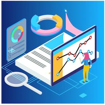 Conceito de análise de dados isométrica e estatísticas