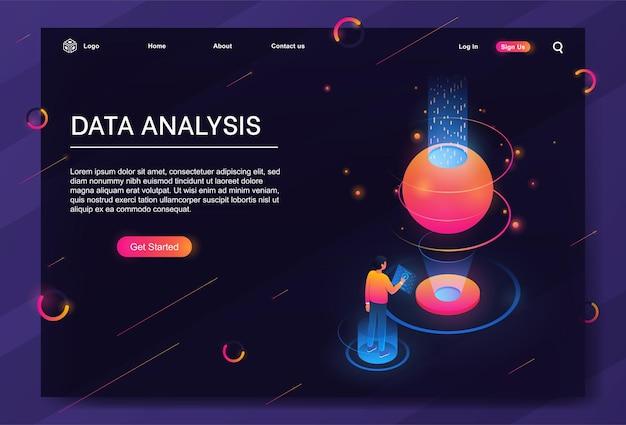 Conceito de análise de dados isométricos para relatório de negócios