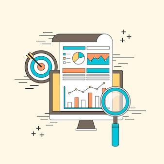Conceito de análise de dados: lupa com gráfico de negócios em estilo de linha
