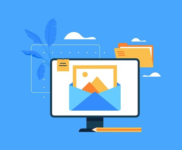 Conceito de análise de estratégia de publicidade de promoção de blog de gerenciamento de conteúdo. a senha de login entra no conceito do site.