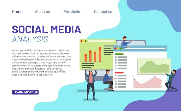 Conceito de análise de mídia social para página de destino com ilustração moderna