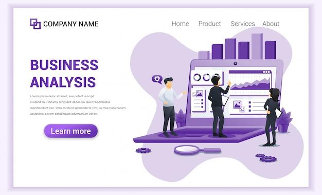Conceito de análise de negócios com caracteres. auditoria, consultoria financeira.