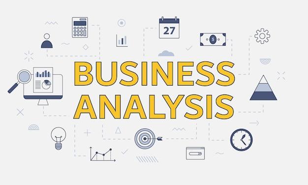 Conceito de análise de negócios com conjunto de ícones com grande palavra ou texto na ilustração vetorial central