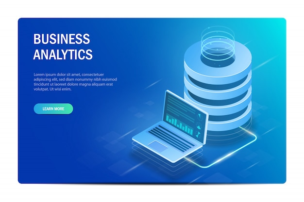Conceito de análise de negócios. computação em nuvem. big data center. troca de dados entre laptop e servidor