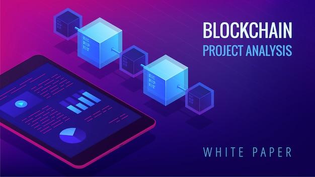 Conceito de análise de projeto de blockchain isométrico.
