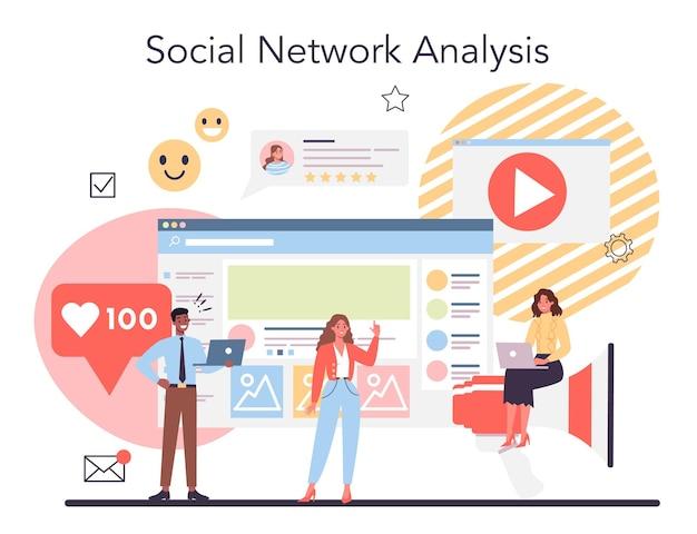 Conceito de análise do concorrente. pesquisa de mercado e desenvolvimento de estratégia de negócios. análise de redes sociais.