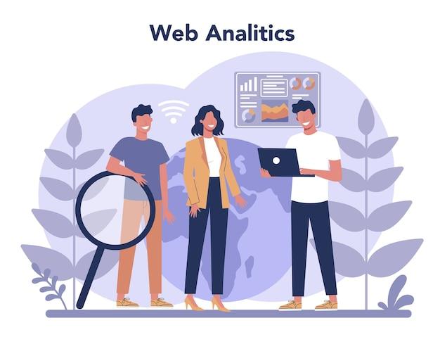 Conceito de análise do site. melhoria da página da web para promoção de negócios como parte da estratégia de marketing. análise de sites para obter dados para seo.
