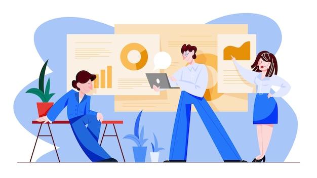 Conceito de análise e análise de dados. ideia de estratégia de negócios. pesquisa e teste de estatísticas financeiras. ilustração