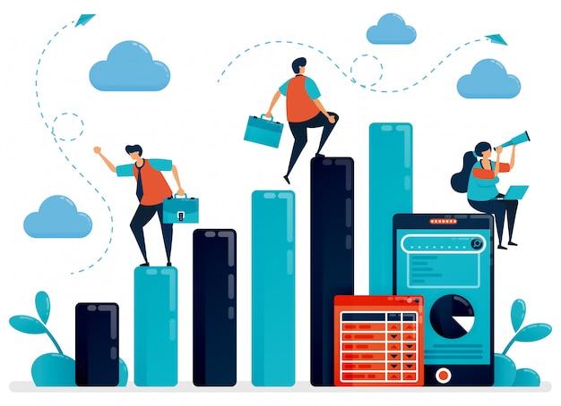 Conceito de análise e planejamento de dados. homem de salário verificar estatística de gráfico de barras para o relatório anual. relatório de dados móveis com gráfico e tabela.