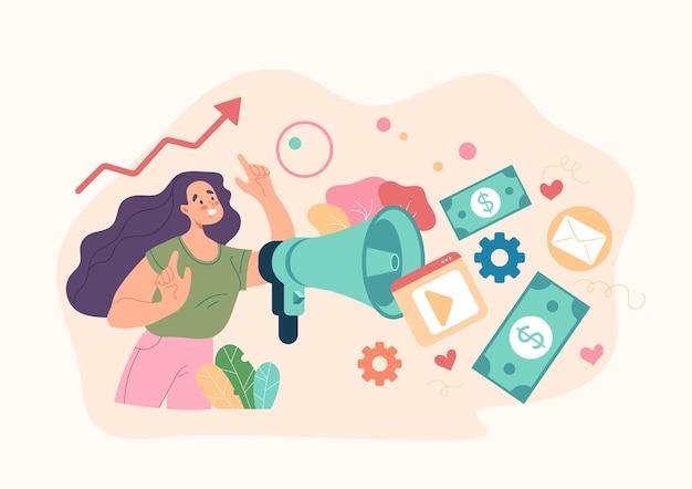 Conceito de análises de anúncios de mídia social de gestão de relações públicas smm