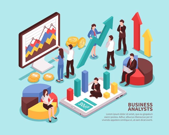 Conceito de analista de negócios com diagramas e estatísticas isométricas isoladas