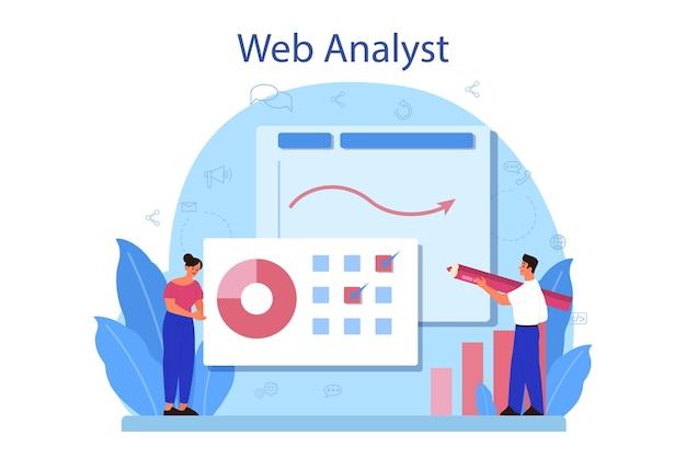 Conceito de analista de site. melhoria da página da web para promoção de negócios como parte da estratégia de marketing.