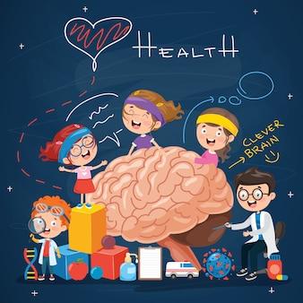 Conceito de anatomia do cérebro e criatividade