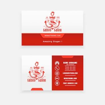Conceito de âncora de logotipo, cartão de visita de estúdio de tatuagem