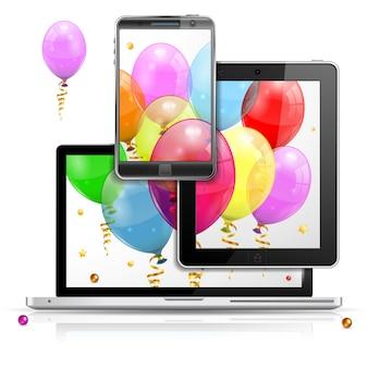 Conceito de aniversário em plataformas digitais