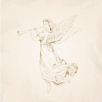 Conceito de anjo de natal com design vintage