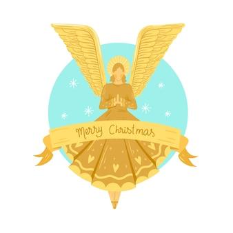 Conceito de anjo de natal dourado
