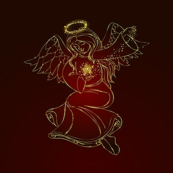 Conceito de anjo de natal na mão desenhada