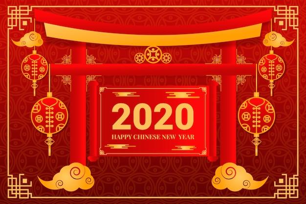 Conceito de ano novo chinês dourado