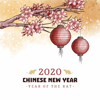 Conceito de ano novo chinês em aquarela