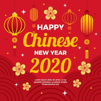 Conceito de ano novo chinês em design plano