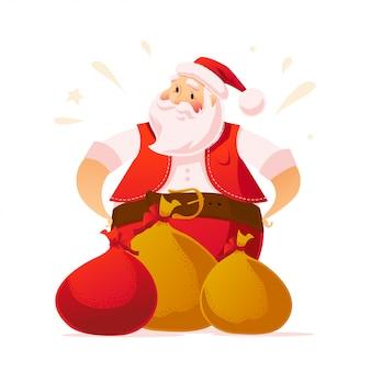 Conceito de ano novo e feliz natal. estilo de desenho animado. retrato de personagem de papai noel e presentes em fundo branco. bom para anúncio de felicitações de natal, cartão.